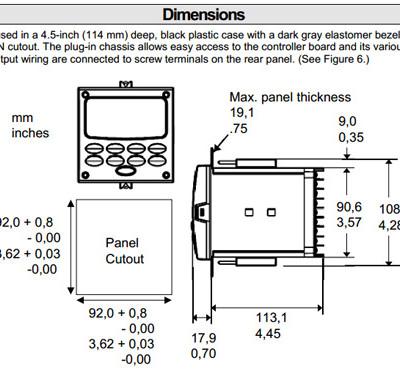 Honeywell UDC2500 Dimensions