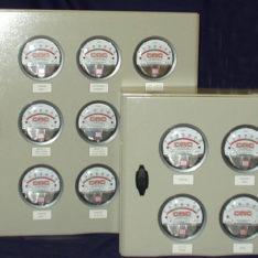 Powder coated aluminium Magnehelic enclosures with custom dials