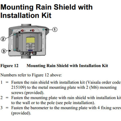 215109 Optional rain shield installation kit for PTB330