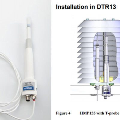 HMP155 with additional temperature probe for high humidity (fitted in DTR13 radiation shield)