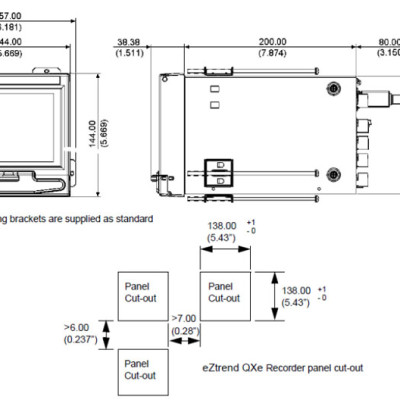 Honeywell eZtrend Paperless recorder panel cutout dimensions