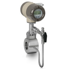 Honeywell Versaflow Vortex shedding flowmeter with pressure compensation and shut off valve (sandwich mount)