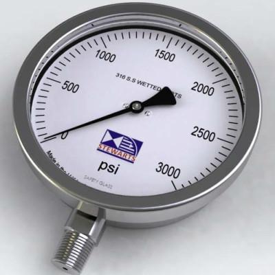 Stewart Buchanan 632 all stainless petro chemical pressure gauge