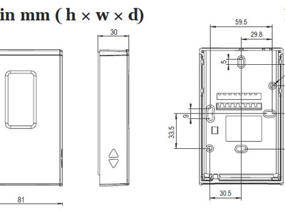 Vaisala HMW90 RH&T Transmitter - dimensions