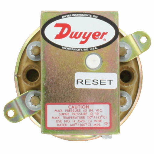 Dwyer 1900 series with manual reset button