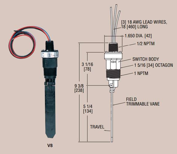 Dwyer v vane paddle flow switch